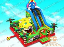 Jungle animal inflatable land with big moving mouth