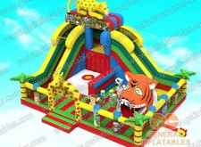 Jungle animals funland with moving tiger mouth