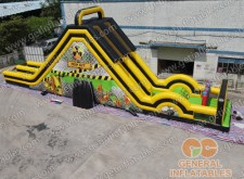 Adult Toxic dual lane dry slide with obstacle course